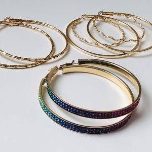 Jewelry - Three Hoop Earrings for the price of one!!! FIRM